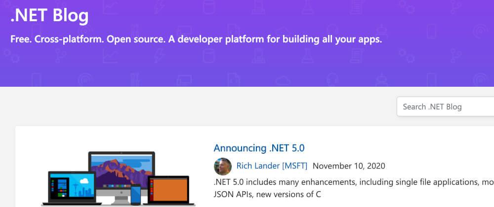 Screenshot of the .NET Blog